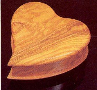 olivewood heart shaped music box