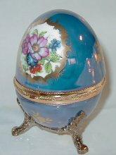 Light Blue porcelain egg music box