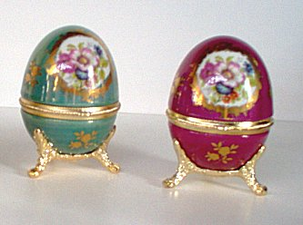 porcelain egg music boxes in green or wine color