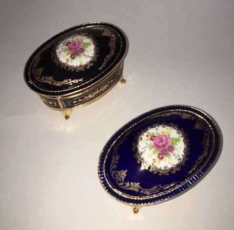Oval Enamel Musical Boxes with Floral Design