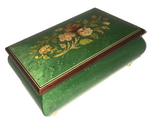 inlaid flowers on Green musical Box