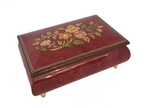 Italian Marquetry Floral Pattern on Wine Redl Elm Music Box