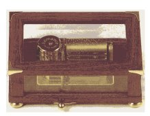 Mahogany Campaign Style with brass corners and glass music box 36 note