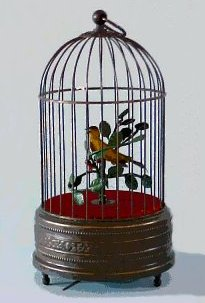 Singing Bird in Cage Antique Finish - Single Bird