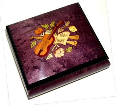 "4.5"" square music box with Violin inlay in Plum, Wine or Blue finish"