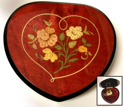 Italian Wind Heart Shaped music box with Floral inlay.