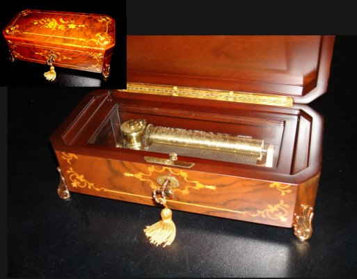 Classic Reuge Musical Box with Exquisite Floral Marquetry (3.72)