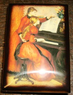 Two girls at piano decoupage on Music Box