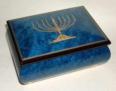 Italian Marquetry of Menorah on Blue Finished Music Box
