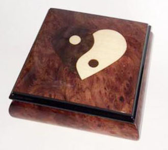 Heart shaped Yin Yang Italian inlay on lid of Elm Musical Box