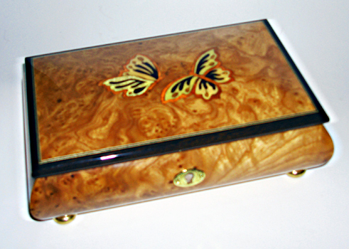 Elm musical box featuring two butterflies on lid