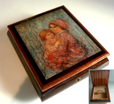 Decoupage Mother and Baby Girl by Edna Hibel on lid of Music Box