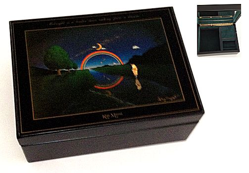 Koji Murai Black Lacquer Musical Jewelry Box Clown Rainbow and Moon