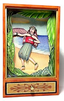 Animated Hula Dancer Musical Shadow Box