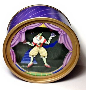 Animated Clown Juggler in Round Shadowbox