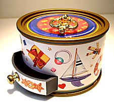 Keepsake Musical Box with Clock and Toys Design