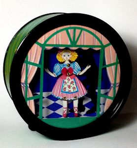 Animated Doll Dancing in Round Shadow Box