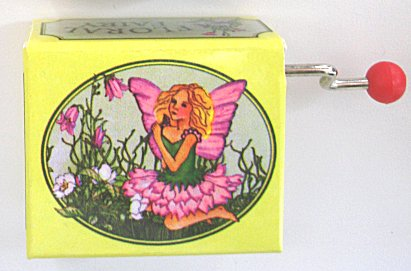 Hand Crank Music Box  Floral Fairy (Yellow with Pink Fairy)