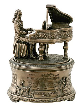 Bronze Mozart at Piano Music Box