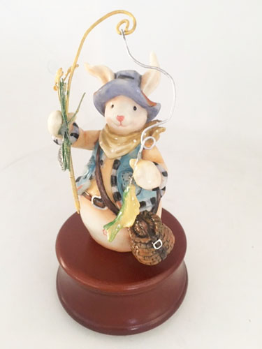 Bunny Fisherman Musical Figurine