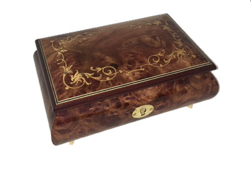 Dark burled elm musical box with gold baroque scroll work