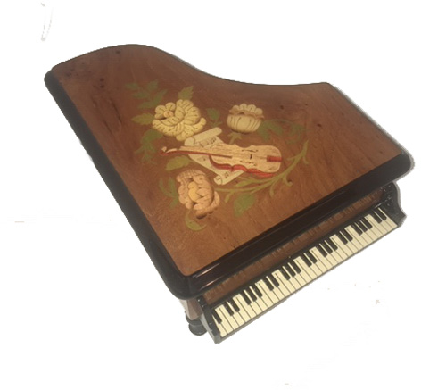Top view of Italian Marquetry on burl elm or Walnut Piano Music Box