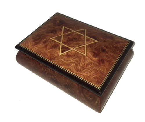 Music Box in Burled Elm, Rubbed Finish with Star of David