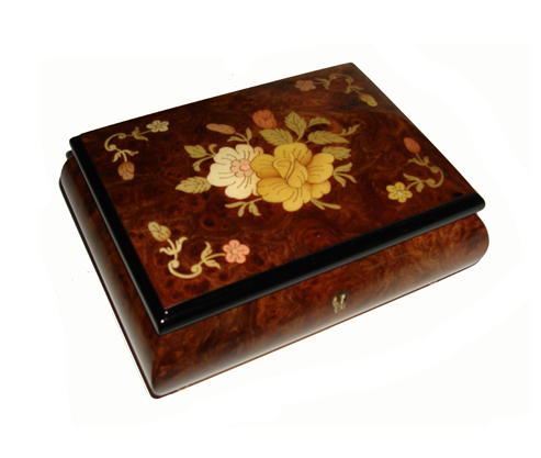 Dark Elm Music Box with Center Floral Paattern and Embellishment in Four Corners