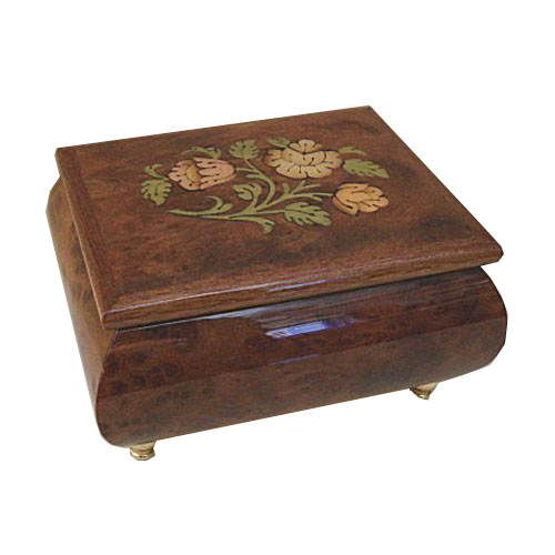 Purple Burled Elm music box with Floral and Leafy Inlay