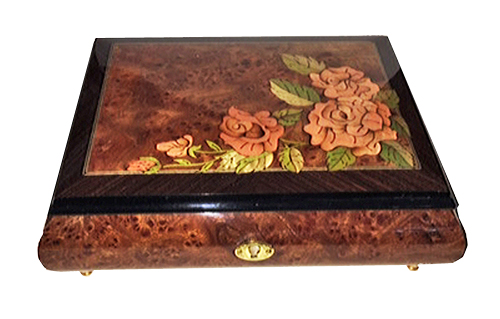 Elm with walnut border music box with roses inlay at corner