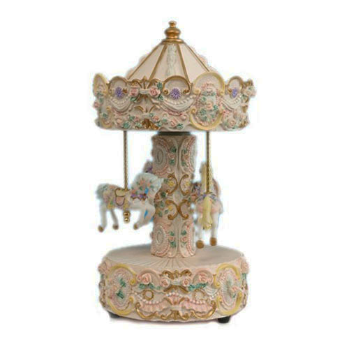 Beige and Gold Three Horse carousel by Musicbox Kingdom