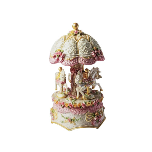Carousel Dome Shaped Three Horse Music Box