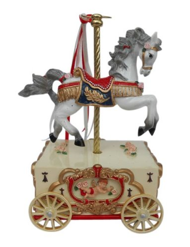 Merry Go Round Carousel Horse on wheeled musical cart