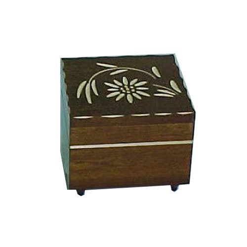 Walnut music box with carved single edelweiss flower