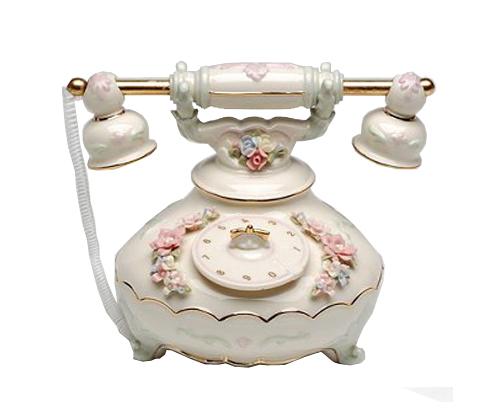 Ceramic Telephone Musical Figurine