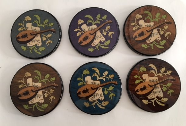 Italian inlay set of 6 coasters with mandolin and music pattern