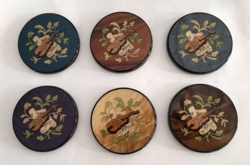 Coasters - Set of 6 Italian inlaid violin or mandolin patttern