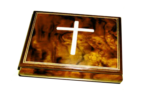 Dark Elm Musical Box with inlaid Crucifix