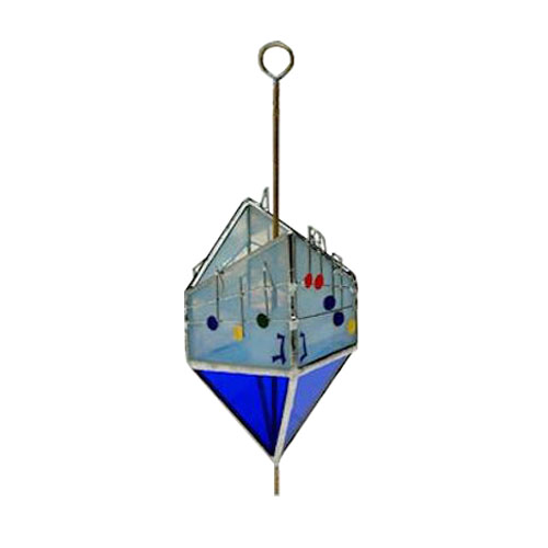 Blue Stained Glass Dreidel Art