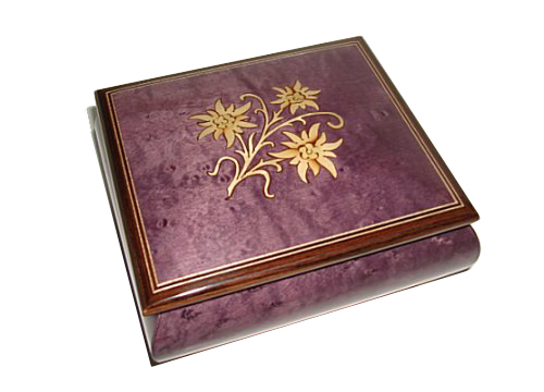 Edelweiss Inlay on Plum Finished Music Box