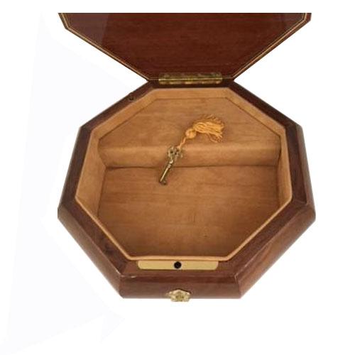 Interior view of Edna Hibel octagonal music box