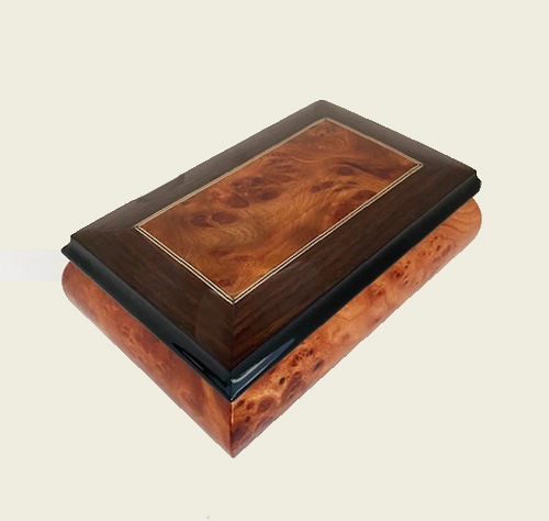 rectangular musical box in elm with filetto and walnut borders
