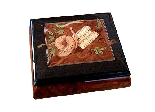 elm music box with walnut border features torah and shofar