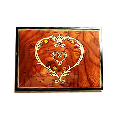 Elm Musical Box with Victorian Heart Within Heart Inlay