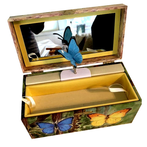 jewelry box with rotating butterfly by Enchantmints Enchantmints Musical Jewelry Box with Butterfies and Flowers Enchantmints Butterfly