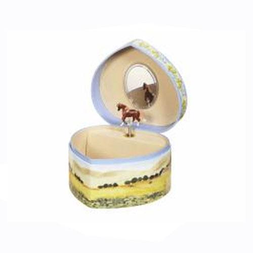 Enchantmints Love of Horses Heart Shaped Musical Treasure Box