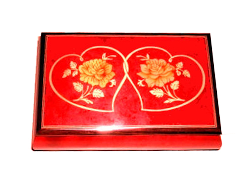 Entwined Hearts Inlay on Bright Red Musical Box