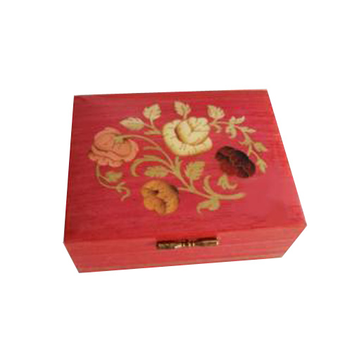 Floral Inlay on Coral Colored Vintage Box