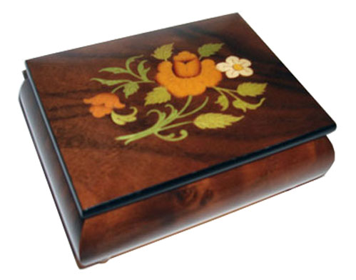 Floral Inlay on Dark Elm Musical Box