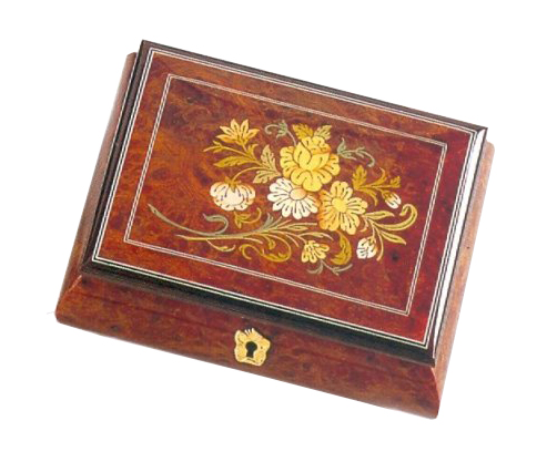Floral Inlay with Filetto Border Musical Box